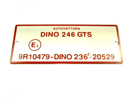 246 GTS E Number Boot Plate