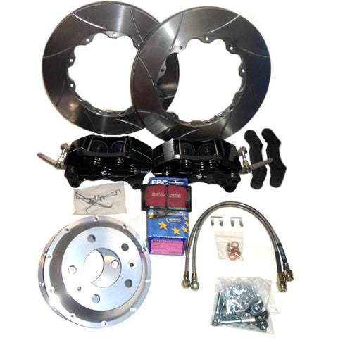 Rear Brake   Kit with Black Calipers                                                          Kit comprises 2 only?4 pot calipers, 2 ventilated discs, full set   high performance pads,? stainless brake hoses and all fitt