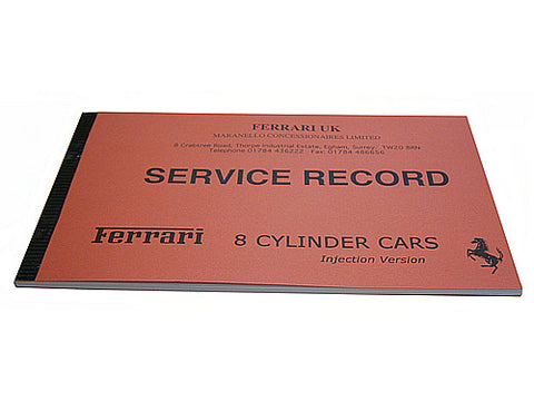 355  8 Cylinder Cars Service Record Book