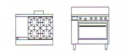 "800 Series Natural Convection Gas Oven | 4 Burner Oven with 12"" Griddle"