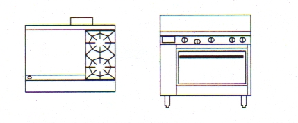 "800 Series Natural Convection Gas Oven | 2 Burner Oven with 24"" Griddle"