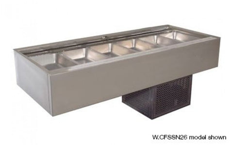 Woodson W.CFSSN24 4 Module Flat Deck Self Serve Cold Food Display