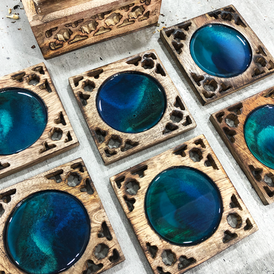 'Mosaic' Handcrafted Resin Coaster Set