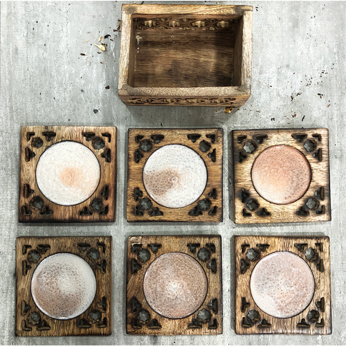 'Champagne' Handcrafted Resin Coaster Set