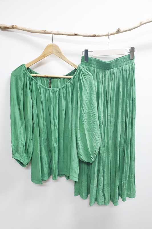 Apple Green Colour Skirt and Top by JJ