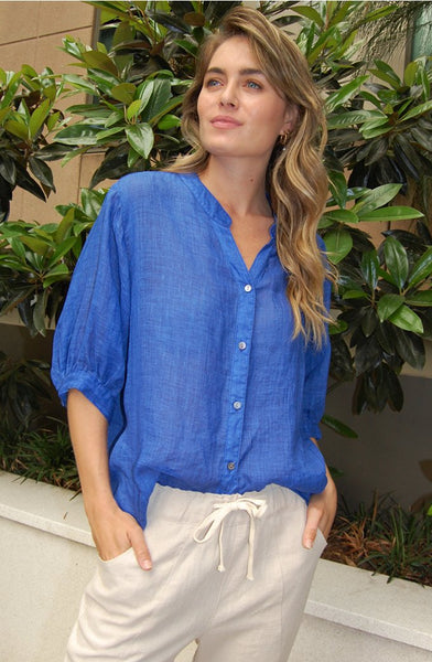 Style Italian Riviera Top Royal Blue