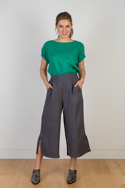 Charcoal Linen Pant With Side Slits