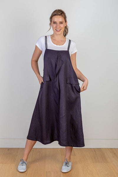 Navy Linen Pinafore