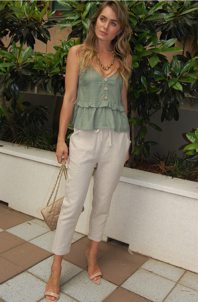 Khaki Summer Beach Top