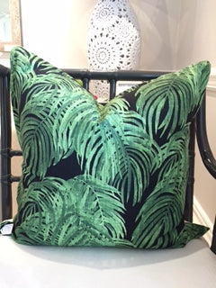 Green and Black Palm Frond Scatter Cushion