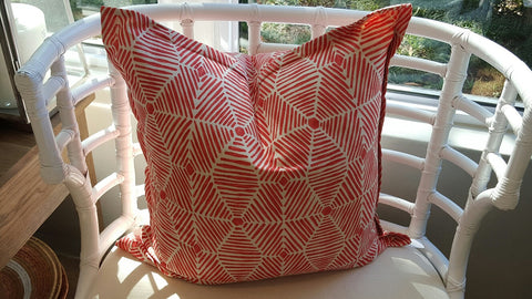 Grid Coral Scatter Cushion