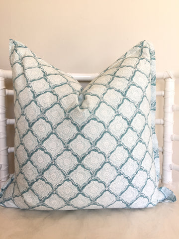 Aqua Grid Scatter Cushion