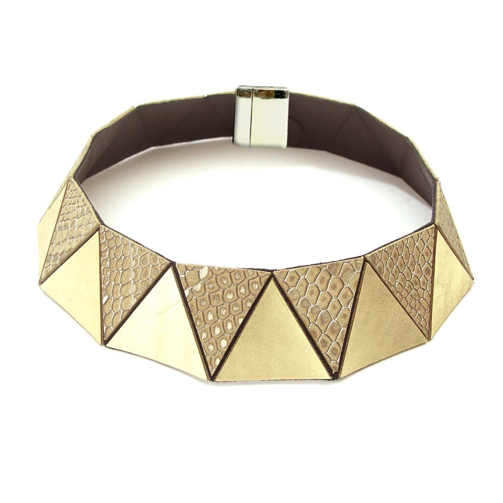 Cleopatra gold geometric leather choker