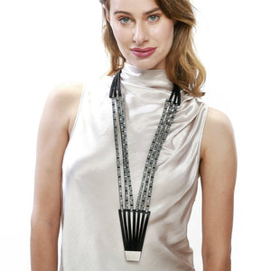 Load image into Gallery viewer, Long Striped Black and White necklace