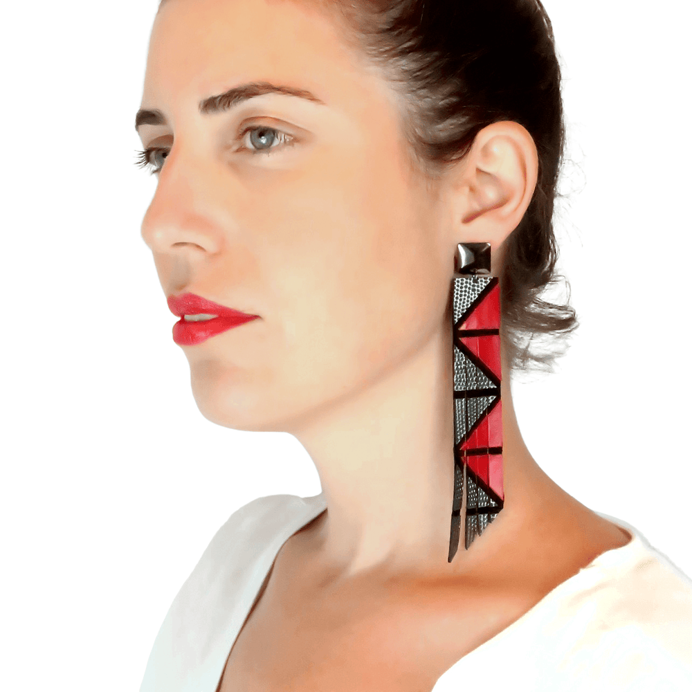 Geo red geometric leather earrings - ShulliDesign