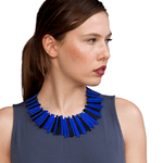 Helena blue leather statement necklace