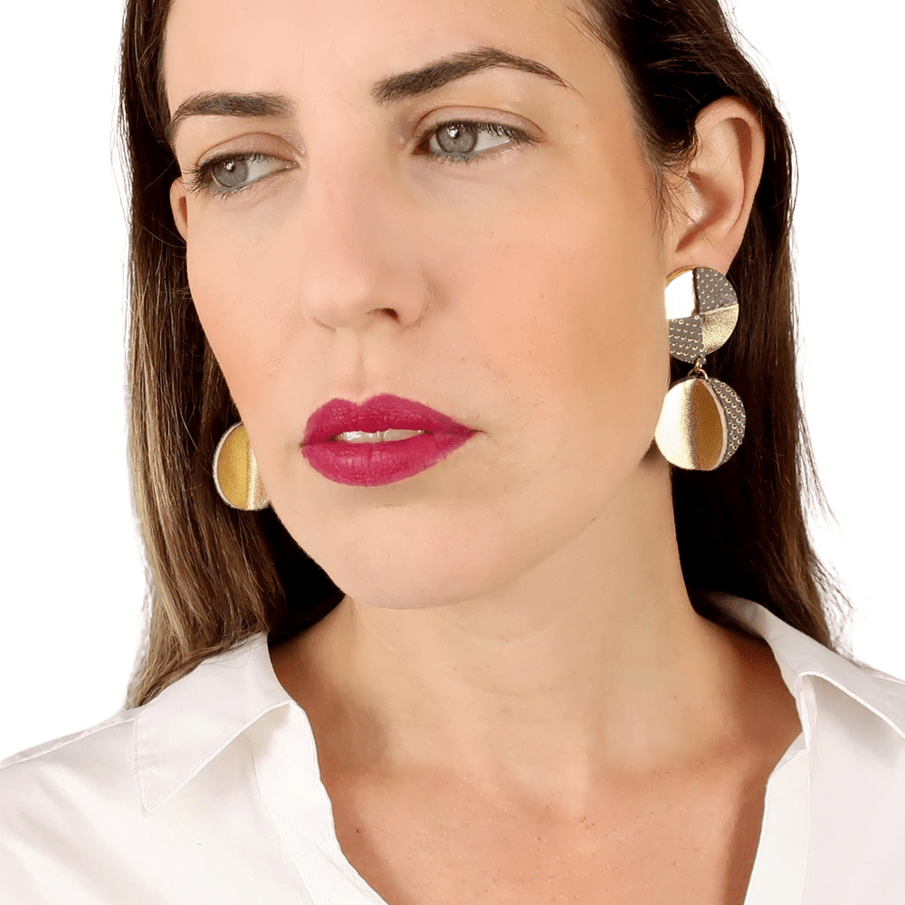 Pinwheel gold leather clip on Earrings