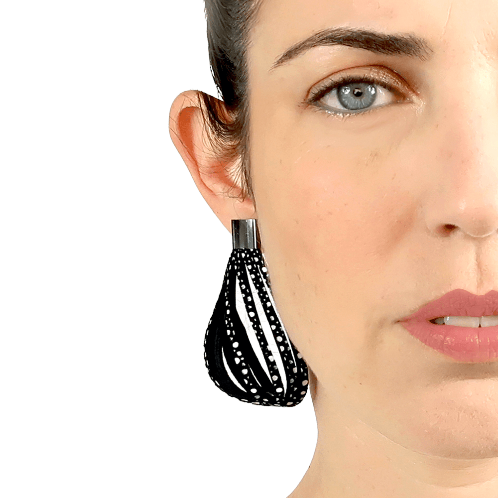 Stripes black and white leather earrings - ShulliDesign