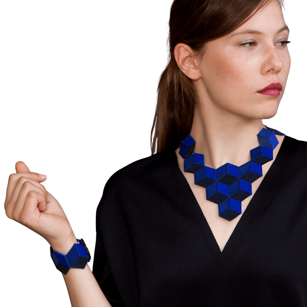 Jeanne Darc blue leather necklace and bracelet set