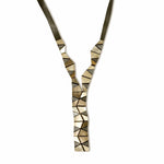 Crazygami long gold leather necklace