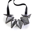 Star silver geometric leather necklace