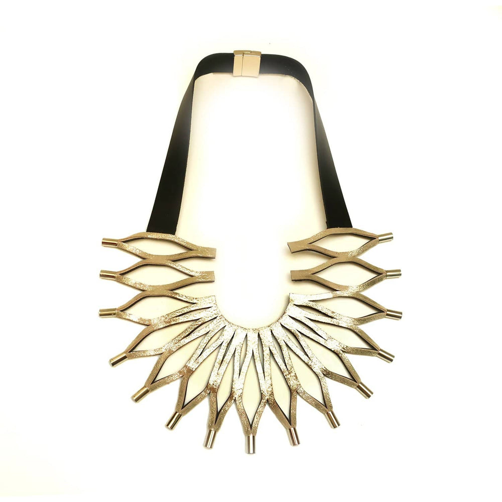 Sunflower gold leather statement necklace