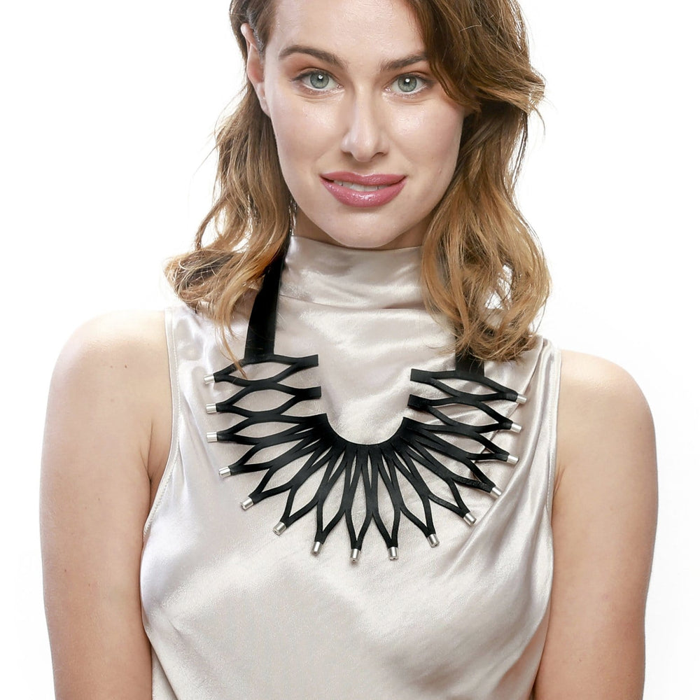Sunflower black statement leather necklace