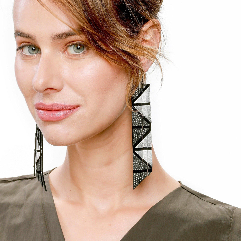Geo silver extra long leather earrings