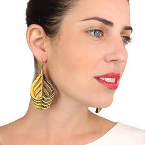 Load image into Gallery viewer, Embrace yellow leather dangle earrings - ShulliDesign