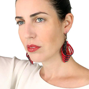 Embrace red leather drop earrings - ShulliDesign