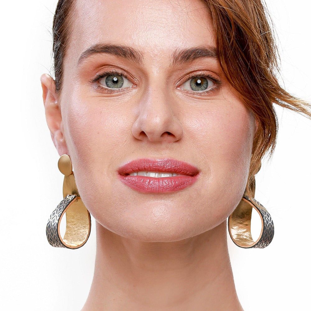 Kate gold dangle leather earrings - ShulliDesign