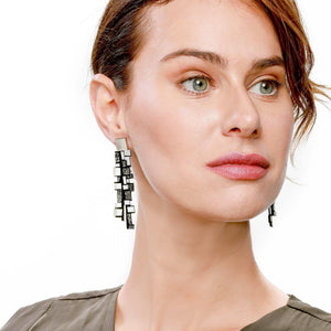 Gaia gold long leather earrings - ShulliDesign