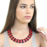 Eclipse red leather statement collar