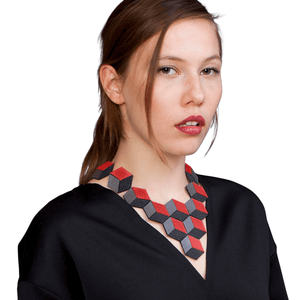 Load image into Gallery viewer, Jeanne Darc red statement leather necklace - ShulliDesign