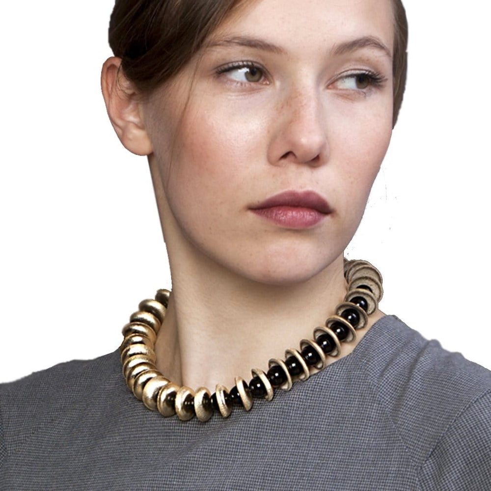 Load image into Gallery viewer, Dianne Gold beaded leather necklace