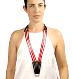 Long red striped leather necklace