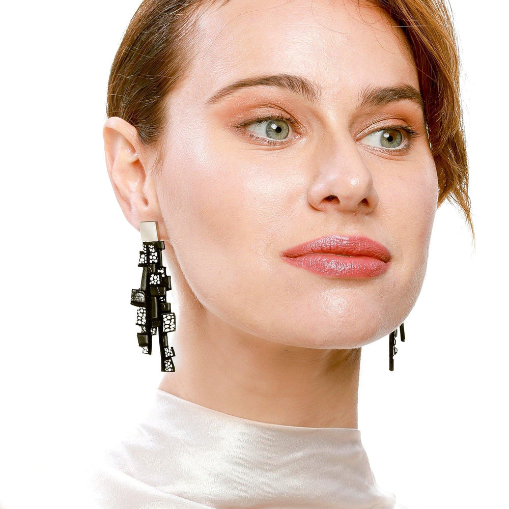 Load image into Gallery viewer, Gaia black and white dangle earrings - ShulliDesign