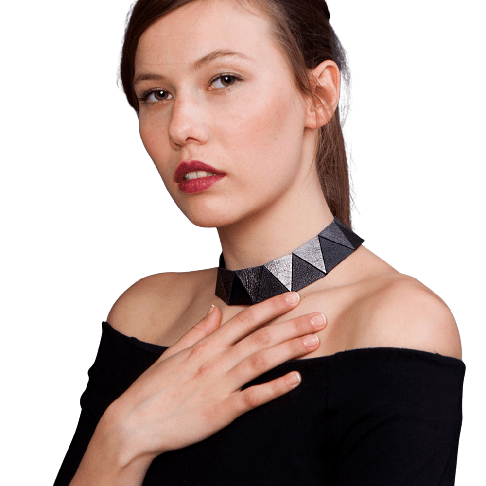 Cleopatra black leather choker necklace