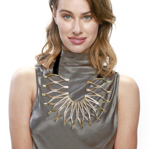Load image into Gallery viewer, Sunflower gold leather statement necklace