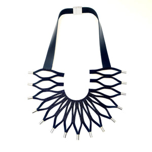 Sunflower silver leather bib necklace
