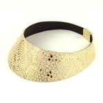African queen gold wide leather choker