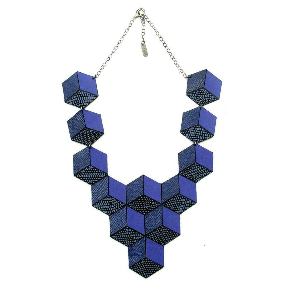Jeanne Darc blue 3D leather necklace - ShulliDesign