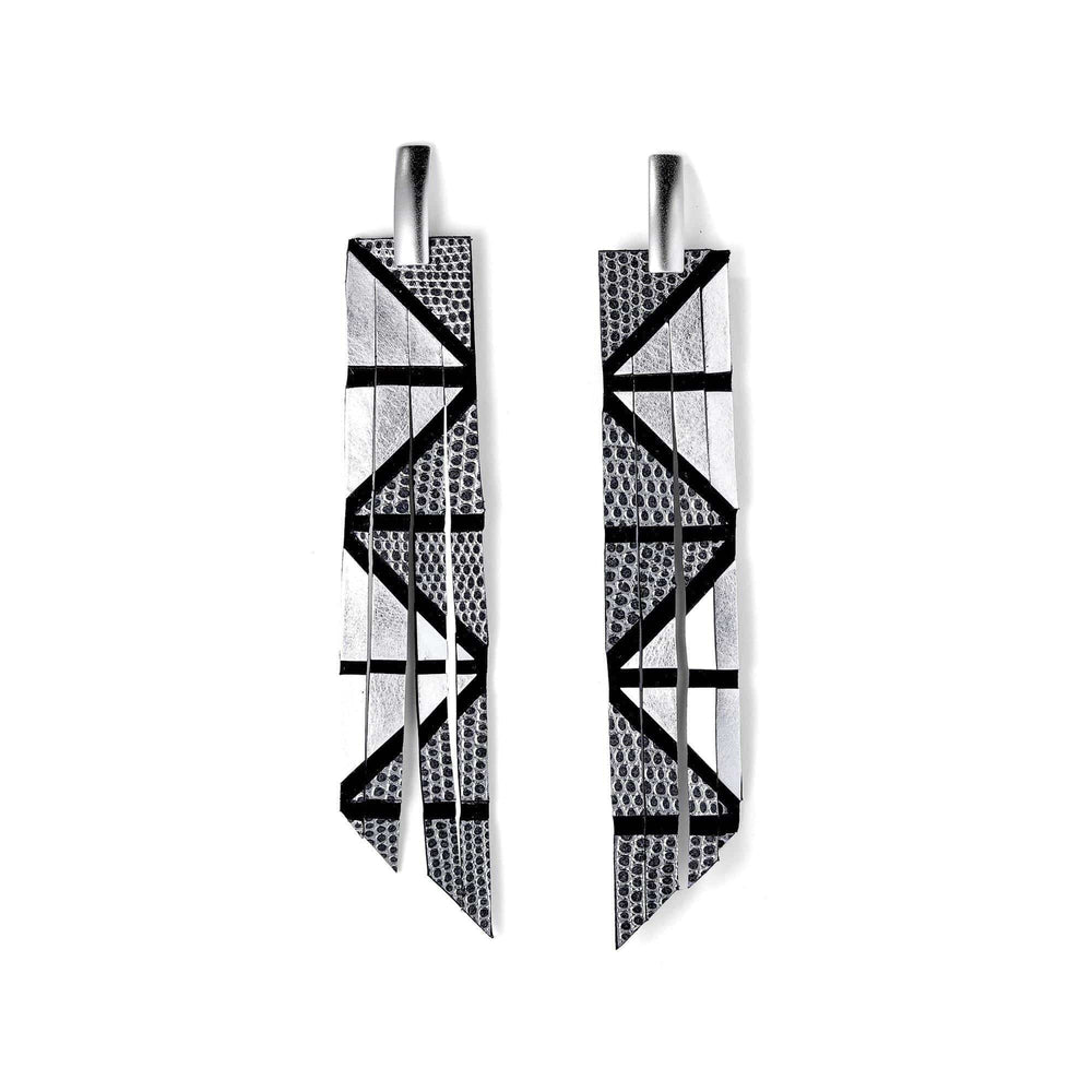 Load image into Gallery viewer, Geo gold long geometric earrings