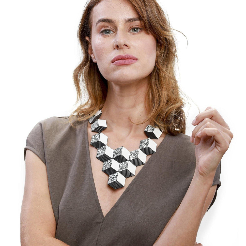 Jeanne Darc black and white leather bib necklace - ShulliDesign