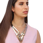 Two in one gold and silver leather necklace
