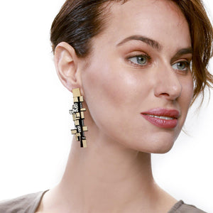 Load image into Gallery viewer, Gaia yellow long leather earrings - ShulliDesign