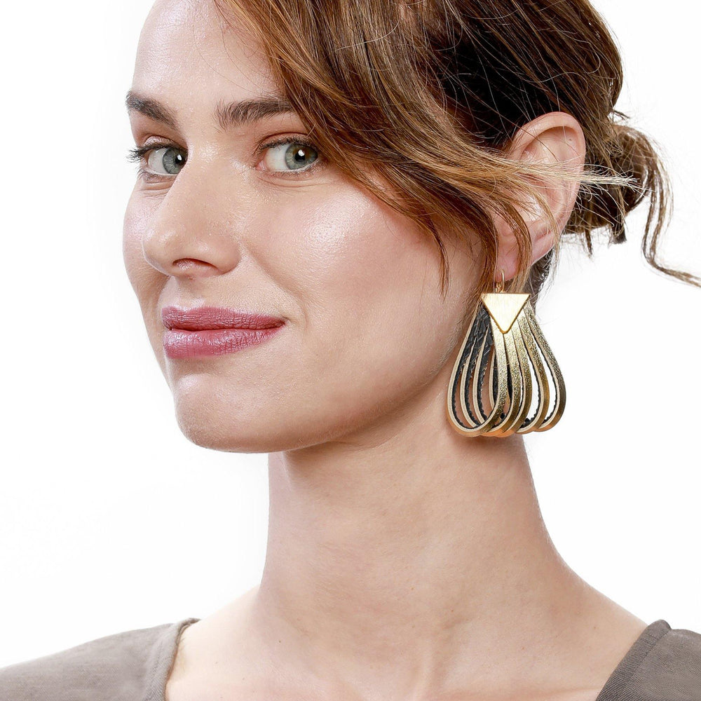Twist large gold leather earrings - ShulliDesign
