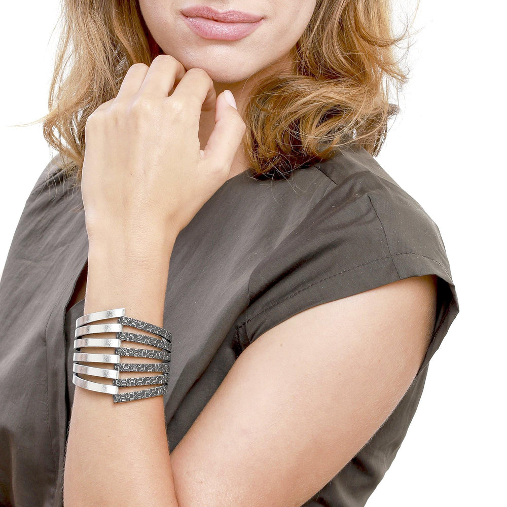 Stripes silver large cuff leather bracelet