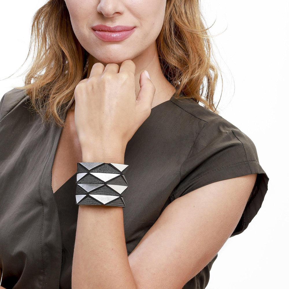 Origami silver geometric leather bracelet - ShulliDesign