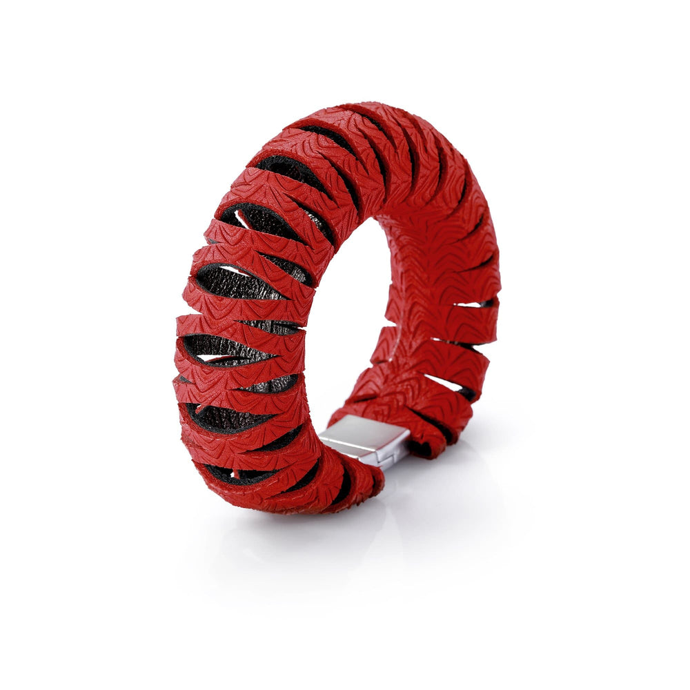Sunflower Red leather bangle bracelet